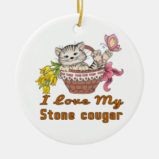 I Love My Stone cougar Ceramic Ornament