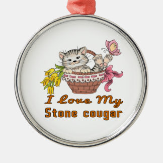 I Love My Stone cougar Metal Ornament
