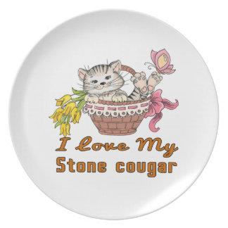 I Love My Stone cougar Plate