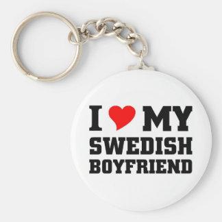 I love my swedish boyfriend basic round button key ring