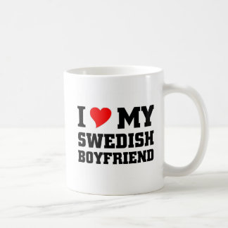 I love my swedish boyfriend basic white mug
