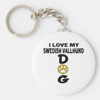 I Love My Swedish Vallhund Dog Designs Basic Round Button Key Ring