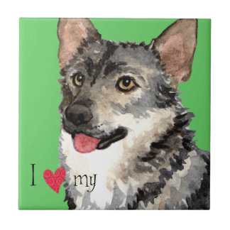 I Love my Swedish Vallhund Small Square Tile