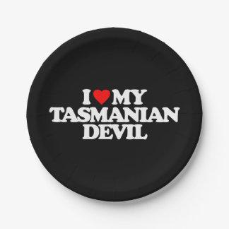 I LOVE MY TASMANIAN DEVIL PAPER PLATE