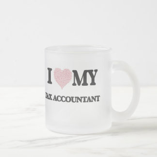 I love my Tax Accountant (Heart Made from Words) Frosted Glass Mug