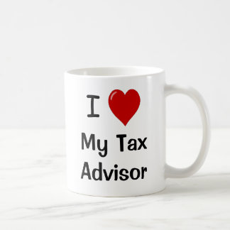 I Love My Tax Advisor / Loves Me Basic White Mug