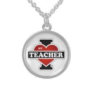 I Love My Teacher Round Pendant Necklace