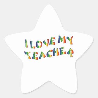 I Love My Teacher (thank you) Rainbow Appreciation Star Sticker