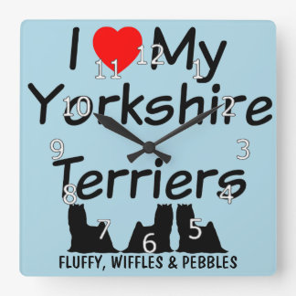I Love My THREE Yorkshire Terrier Dogs Wall Clocks