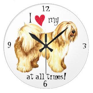 I Love my Tibetan Terrier Large Clock