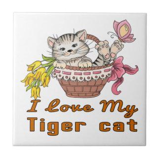 I Love My Tiger cat Tile