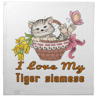 I Love My Tiger siamese Napkin