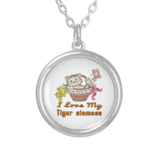 I Love My Tiger siamese Silver Plated Necklace