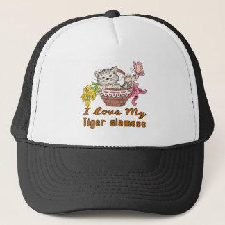 I Love My Tiger siamese Trucker Hat