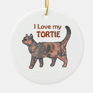 I Love My Tortie Ceramic Ornament