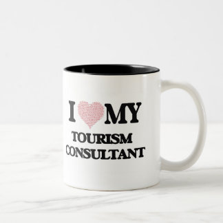 I love my Tourism Consultant (Heart Made from Word Two-Tone Mug