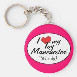 I Love My Toy Manchester (It's a Dog) Basic Round Button Key Ring