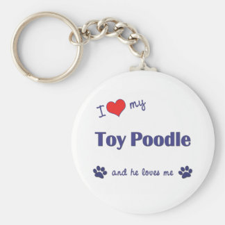 I Love My Toy Poodle (Male Dog) Basic Round Button Key Ring