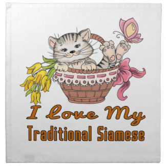 I Love My Traditional Siamese Napkin