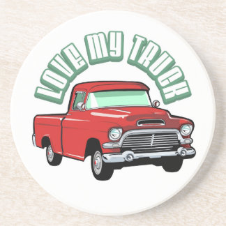 I love my truck - Old, classic red pickup Drink Coasters
