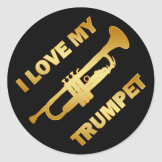 I LOVE MY TRUMPET CLASSIC ROUND STICKER