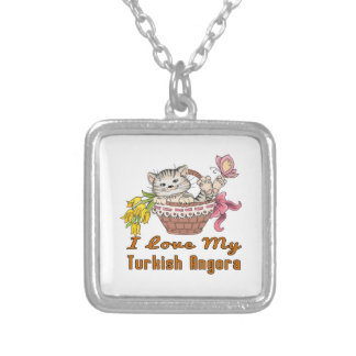 I Love My Turkish Angora Silver Plated Necklace