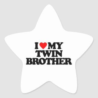 I LOVE MY TWIN BROTHER STAR STICKER
