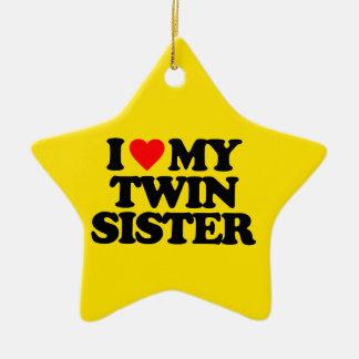 I LOVE MY TWIN SISTER CHRISTMAS ORNAMENT