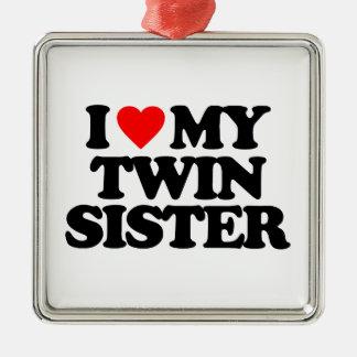 I LOVE MY TWIN SISTER Silver-Colored SQUARE DECORATION