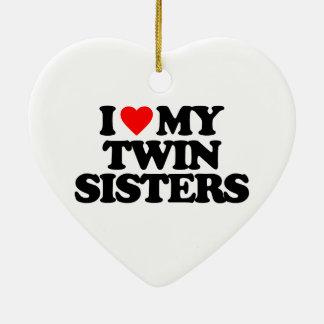 I LOVE MY TWIN SISTERS CHRISTMAS TREE ORNAMENT