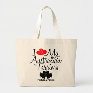 I Love My Two Australian Terrier Dogs Large Tote Bag