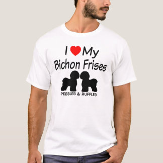 I Love My Two Bichon Frise Dogs T-Shirt