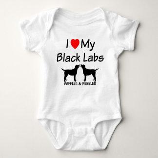I Love My TWO Black Labs Baby Bodysuit