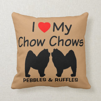 I Love My Two Chow Chow Dogs Cushion