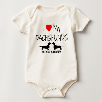 I Love My Two Dachshunds Baby Bodysuit