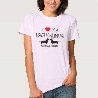 I Love My Two Dachshunds Tshirts