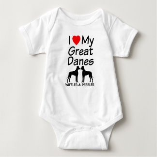I Love My TWO Great Danes Baby Bodysuit