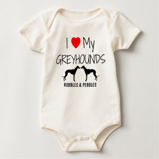 I Love My Two Greyhounds Baby Bodysuit