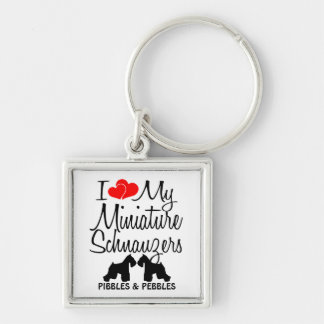 I Love My TWO Miniature Schnauzers Key Ring