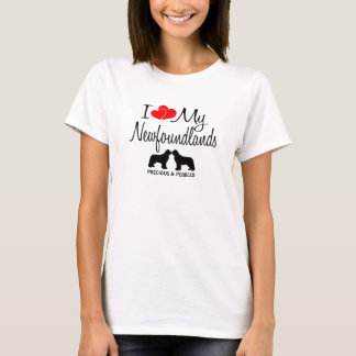 I Love My Two Newfoundland Dogs T-Shirt