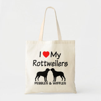 I Love My TWO Rottweilers Tote Bag