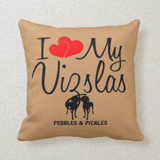 I Love My Two Vizsla Dogs Cushion