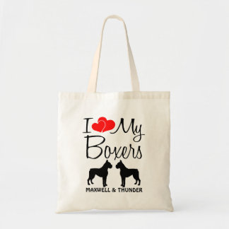 I Love My TWOBoxer Dogs Tote Bag