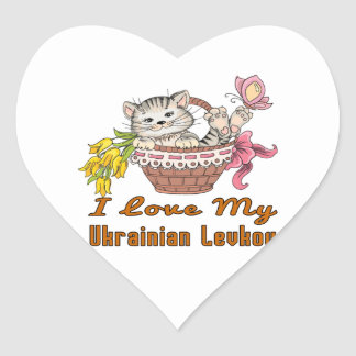 I Love My Ukrainian Levkoy Heart Sticker