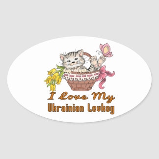 I Love My Ukrainian Levkoy Oval Sticker