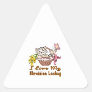 I Love My Ukrainian Levkoy Triangle Sticker
