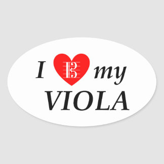 I Love My Viola (I Heart My Viola) Oval Sticker