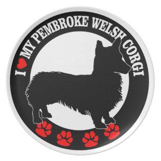 i love my welsh corgi plate
