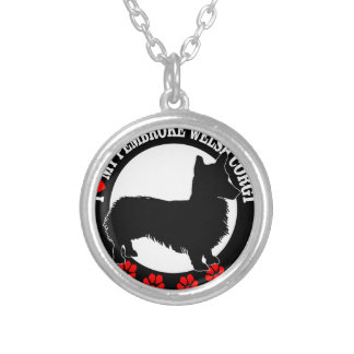 i love my welsh corgi silver plated necklace