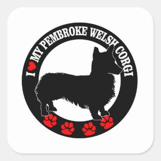 i love my welsh corgi square sticker